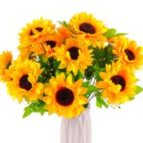 Beferr Artificial Sunflower Forever Flowers Bouquet Yellow Helianthus Green Leaves for Art Home Decoration Office Party Wedding 3 Pcs