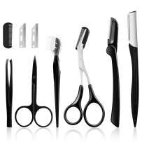 Vextronic Eyebrow Razor,6 in 1 Eyebrow Kit,Multipurpose Exfoliating Dermaplaning Tool Face Razors for Women, Including Facial Trimmer Shaver,Eyebrow Brush,Scissors,Tweezers,Storage Bag