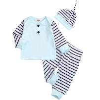 Newborn Infant Baby Boys Clothes Set Striped Long Sleeve T-Shirt Top Sweatshirt with Striped Pants Hat 3 PCS Outfits Set