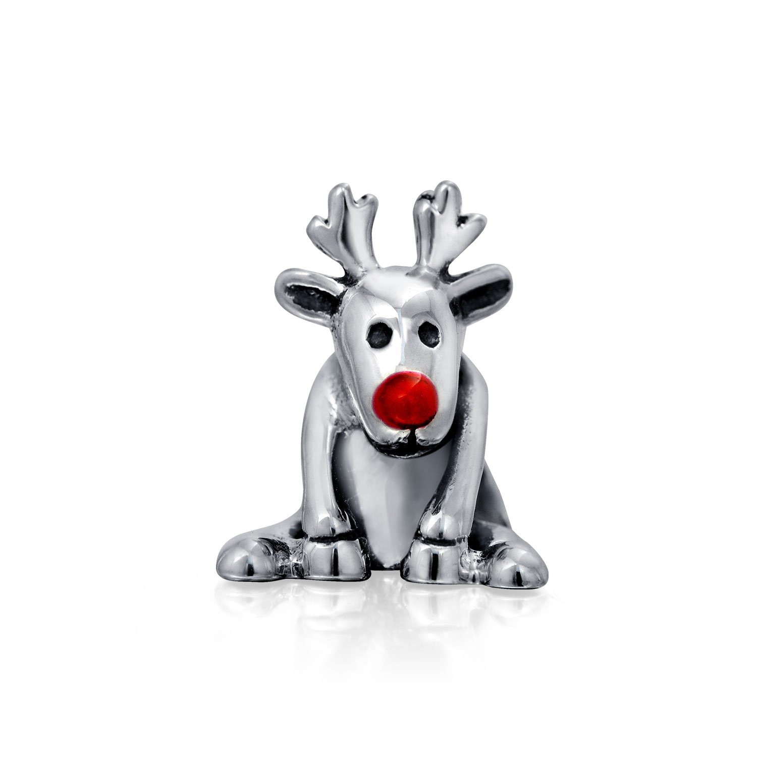 Christmas Rudolph Red Nose Reindeer Charm Bead For Women For Teen Oxidized 925 Sterling Silver Fits European Bracelet