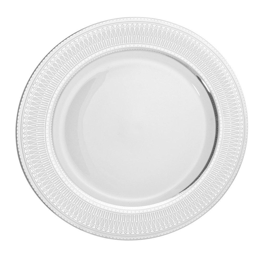 "10 Strawberry Street Iriana 10.25"" Dinner Plate, Set of 6, Silver"