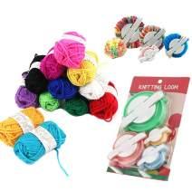 Pompom Makers,4 Sizes Pom-pom Maker Fluff Ball Waver with 12 Skeins Acrylic Yarn for DIY Wool Yarn Crochet Knitting