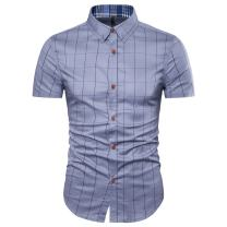 MUSE FATH Mens Cotton Short Sleeve Shirt-Casual Short Sleeve Plaid Shirt