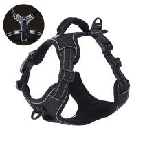 Rision Pet Dog Harness No-Pull Adjustable Pet Oxford Vest with 2 Leash Clips Soft Padded Dog Vest Reflective No-Choke with Easy Control Handle for Dogs
