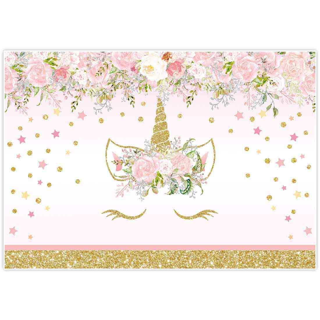 Allenjoy 8x6ft Fabric Floral Unicorn Backdrop Pink Pastel Flowers Baptism Party Supplies Golden Glitter Polka Dots Baby Shower Girls Princess 1st First Birthday Decorations Photography Props Favors