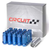Circuit Performance Forged Steel Extended Open End Hex Lug Nut for Aftermarket Wheels: 12x1.5 Blue - 20 Piece Set + Tool