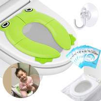 Supermore Upgrade Folding Portable Travel Potty Seat Silicone Pads Home Reusable Toilet Potty Training Seat Covers Liners for Babies, Toddlers and Kids - Gloves Towel Hook Included (Green)