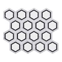 Diflart Carrara Italian White Cerrara Marble Hexagon Mosaic Tile 5 Sheets/Box (Hexagon Black)