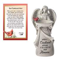 Lola Bella Gifts and Ganz Cardinals Appear Memorial Angel Figurine Bird Feeder and Red Feathered Soul Poem Card Box Sympathy Grief Gift