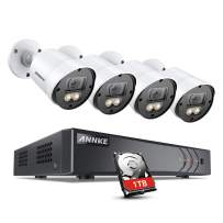 ANNKE 8CH 1080p Full Color Night Vision CCTV Camera System, H.265+ 5MP Surveillance DVR and 4pcs HD 1080p Security Cameras System for Home & Outdoor with Smart Array LEDs, 1 TB Hard Drive