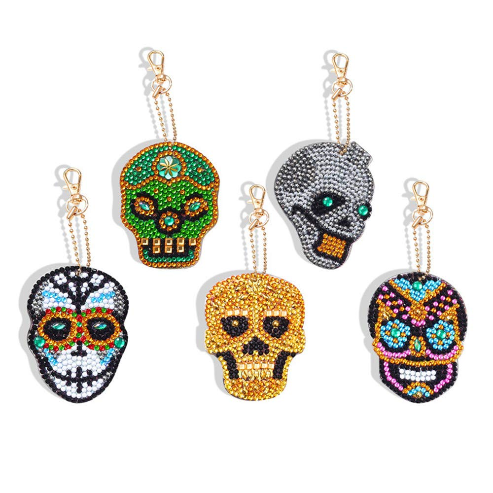 Diamond Painting Keychain Kit for Kids and Adults, DIY Full Drill Diamond Painting Art Crafts Skull 5 Pack