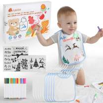 Lictin 28Pcs DIY Bibs Set - 10Pcs White Baby Double-Layer Cotton Waterproof bib(22 x 28cm) for Drawing, with 14 Textile Markers Pens and 4 Painting Template Sets