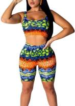 Womens 2 Pieces Outfit Shorts Tracksuit - Sexy Snakeskin Print Bodycon T-Shirts Crop Top Short Pant Jumpsuit Romper Set
