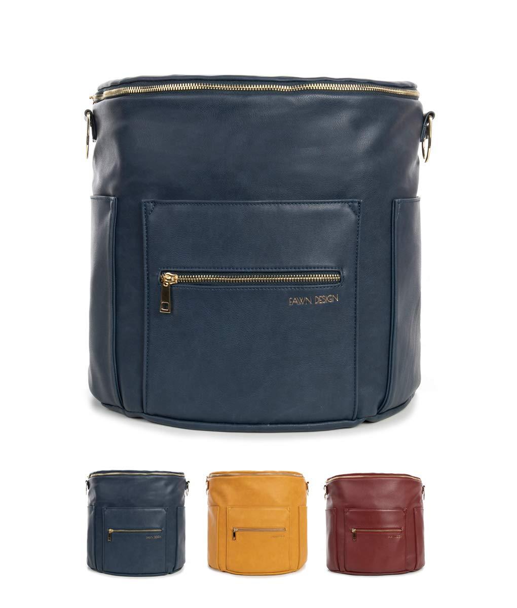Fawn Design Premium Vegan Leather Diaper Bag and Backpack (Navy 2.0)