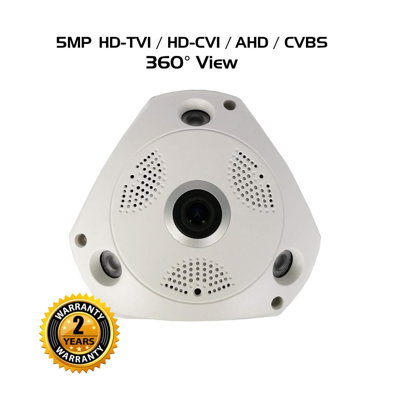 Ares Vision 4 in 1 5MP AHD, TVI, CVI, Analog Fish-Eye 180 Degree Wide View Camera w/IR Night Vision, Flush Mount