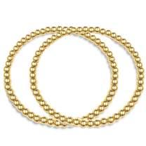 Hapuxt 14K Real Gold Plated Bead Bracelet | Inspirational Gold Bracelets for Women