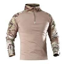 NEW VIEW Men's Tactical Combat Shirt Long Sleeve with 1/4 Zipper Military Camo Shirt