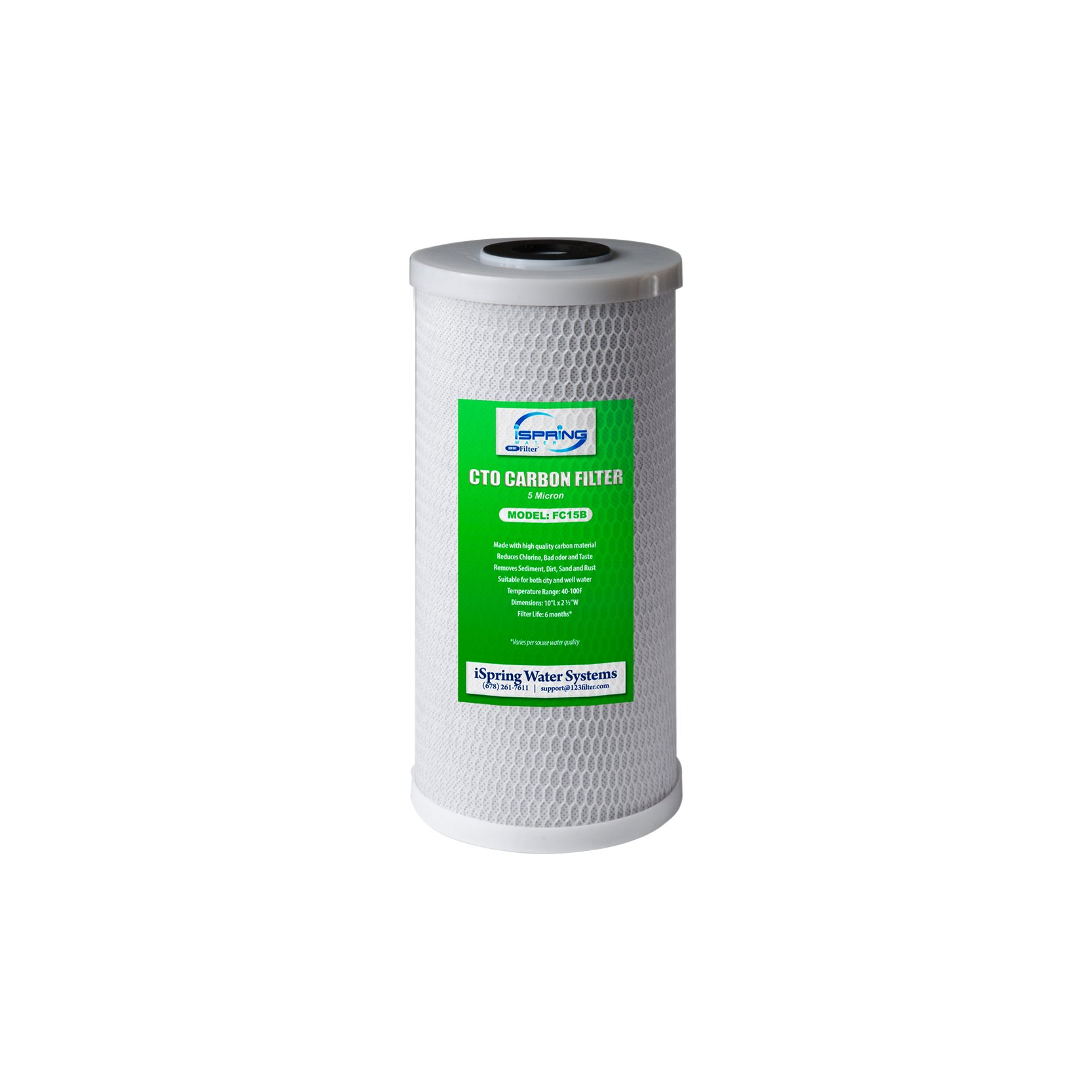 """iSpring FC15B Whole House 4.5""""x10"""" Filtration 5-Micron Universal Premium Coconut Shell High Capacity Activated CTO Carbon Block Water Filter Replacement Cartridge for Big Blue, 4.5"""" x 10"""", White"""