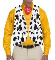 Karlywindow Men's Cow Open Festival Front Vintage Hippie Costume Vest