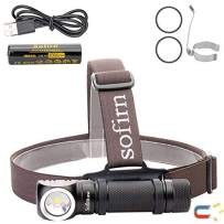 Led Headlamp, Sofirn SP40 Super Bright 1200 Lumen Head lamp, Rechargeable CREE XP-L 5500K Magnetic Tailcap Torch, 18650 battery and USB Cable Inserted