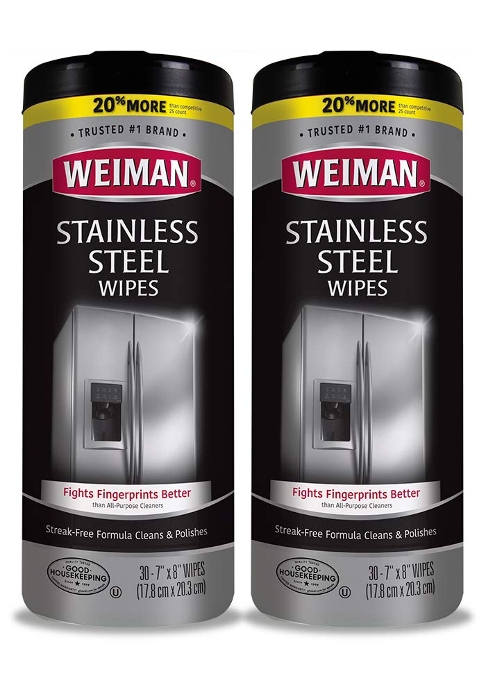 Weiman Stainless Steel Cleaning Wipes [2 Pack] Removes Fingerprints, Residue, Water Marks and Grease From Appliances - Works Great on Refrigerators, Dishwashers, Ovens, Grills and More
