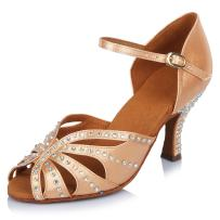 SWDZM Women's Standard Latin Dance Shoes Crystals Wedding Performance Dancing Shoes Ballroom Model-YCL162