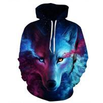 NEWCOSPLAY Unisex Realistic 3D Digital Print Pullover Hoodie Hooded Sweatshirt Wolf