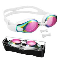 Aegend Swim Goggles with 3 Adjustable Nose Pieces, Flat Lens Swimming Goggles