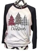 DUTUT Women Christmas Leopard Plaid Printed Tree T Shirts Raglan Sleeve Top Tees Baseball Shirt