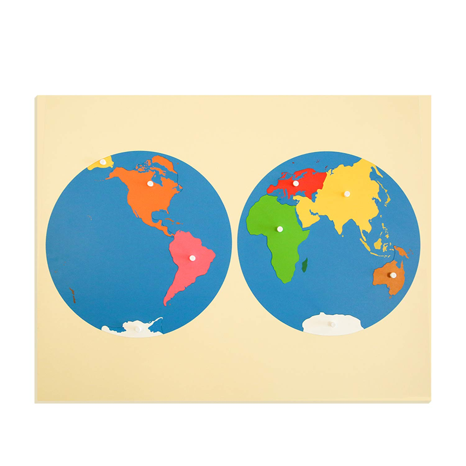 Montessori Materials Puzzle Map of World Part, Wooden Globe Geography Toys for Early Preschool and Homeschool Toddlers and Kids