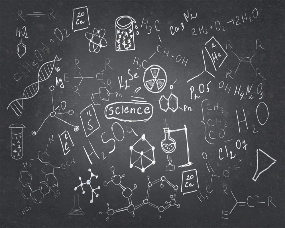 AOFOTO 10x8ft Chemistry Course Classroom Photography Backdrop Handwritten Science Drawing Chalkboard Blackboard Background for School Term Begins Graduation Ceremony Photo Studio Drapes