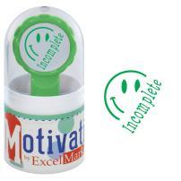 Motivations Pre-Inked Teacher Stamp - Incomplete (Half Smiley) - Green