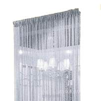 Duosuny 110x110 Inch Door String Curtain Rare Flat Silver Ribbon Thread Fringe Window Panel Room Divider Cute Strip Tassel for Wedding Coffee House Restaurant Party Parts (Silvery-Gray)