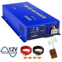 XYZ INVT 3500W Pure Sine Wave Inverter - 12V DC to 110V 120V AC Surge 7000 Watt Power Inverter Converter Generator w/ 100ft Wireless Remote Control for Solar System, Off Grid, RV.(3500W/12V)