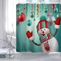 "ORTIGIA Christmas Shower Curtain Set,Happy Snowman Bath Curtains,Waterproof Polyester Fabric -60"" W x 72"" L (150cmx180cm) with Hooks"