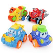 Boley Buddy Mini Toy Cars, Model Two - 4 Piece Friction Powered Small Race Car Toys Play Set for Kids and Toddlers