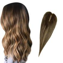 Full Shine Toupee Holder Manual Suitable Mono Top Balayage Color #4 Medium Brown Fading To #27 Honey Blonde And #4 12×6cm Crown For Women Cover White Hair 8 Inch 23 Gram Per Pack