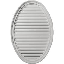 Ekena Millwork GVOV25X37F 25-Inch W x 37-Inch H x 2 1/8-Inch P Vertical Oval Gable Vent, Functional