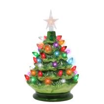 "Joiedomi 9"" Tabletop Prelit Ceramic Christmas Tree with LED Lights Battery Powered, Mini Christmas Tree Decoration"