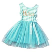 Baby Girls 1st/2nd/3rd Birthday Party Dress Outfit Striped Shiny Letter Crown Cake Smash Party Princess Tulle Skirt Clothes