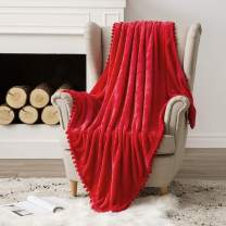 MIULEE Ultra Soft Fleece Blanket Luxurious Fuzzy for Couch or Sofa Lightweight Fluffy Warm Bed Blanket with Cute Pompom Tassels - Super Cozy for Napping Sleeping Twin Size 60x80 inches Red
