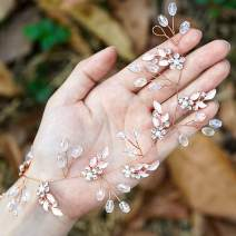 Unicra Leaf Wedding Hair Vine Flower Bridal Hair Piece Crystal Rhinestone Long Headband for Women and Girls (Rose Gold)