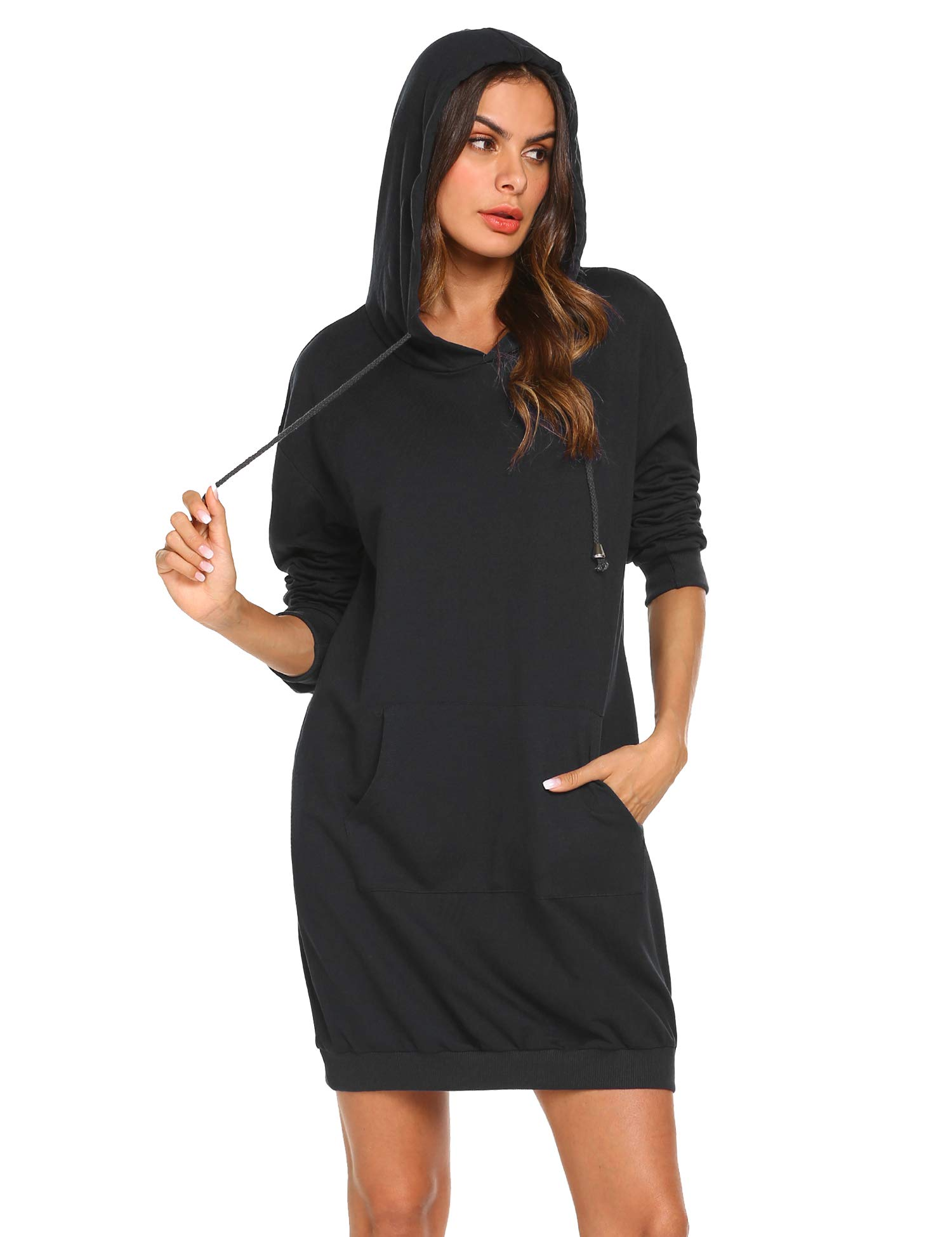 IN'VOLAND Women's Long Sleeve Hooded Loose Casual Pullover Hoodie Dress Tunic Sweatshirt Dress with Pockets
