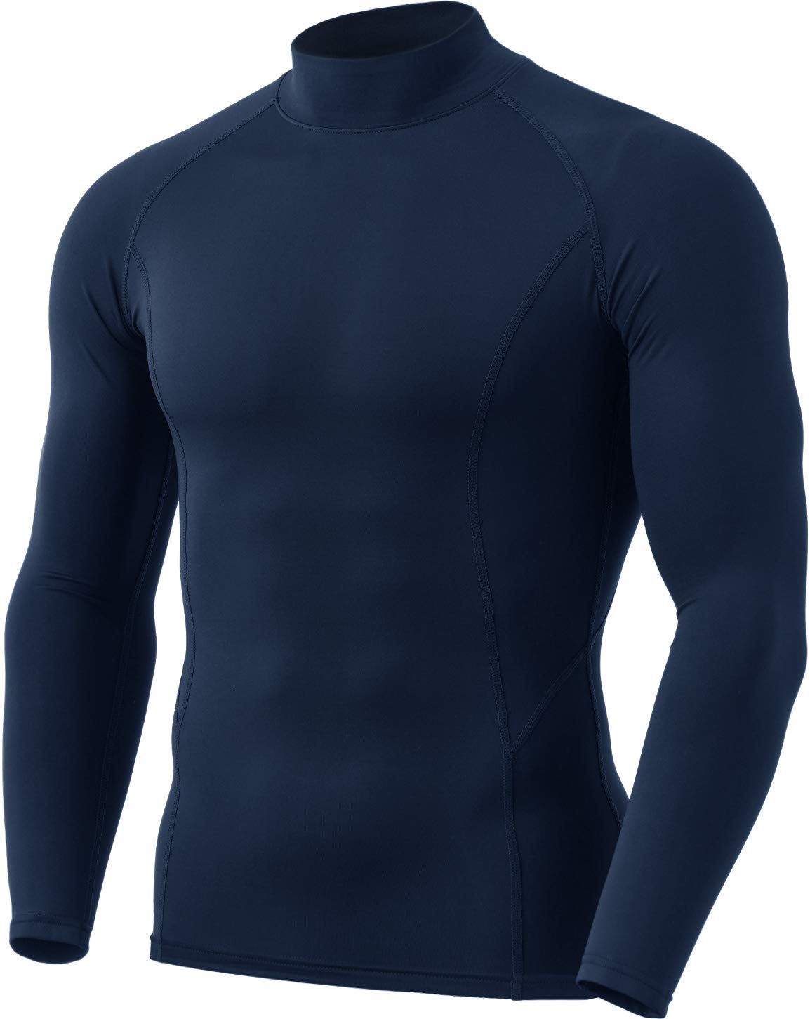 TSLA 1 or 2 Pack Men's Thermal Long Sleeve Compression Shirts, Mock/Turtleneck Winter Sports Running Base Layer Top