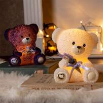 Vanthylit Set of 2 Lovely Bear Electronic Candle Handmade with Real Wax Flameless Candle with Timer Animal-Shaped Table Lamp for Gift to Lover Mother's Day Decor