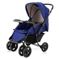 BABY JOY Two Way Baby Stroller, Infant Foldable Conversable Pushchair w/ 5- Point Safety Harness, Sleeping Cushion, Storage Basket, Free Standing (Sapphire Blue)
