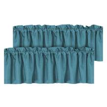 H.VERSAILTEX Blackout Linen Curtain Valances for Kitchen/Bathroom/Laundry - (2 Panels) Thermal Insulated Window Valances for Living Room/Bedroom Rod Pocket Casual Curtain 52x18 inch, Aegean Blue