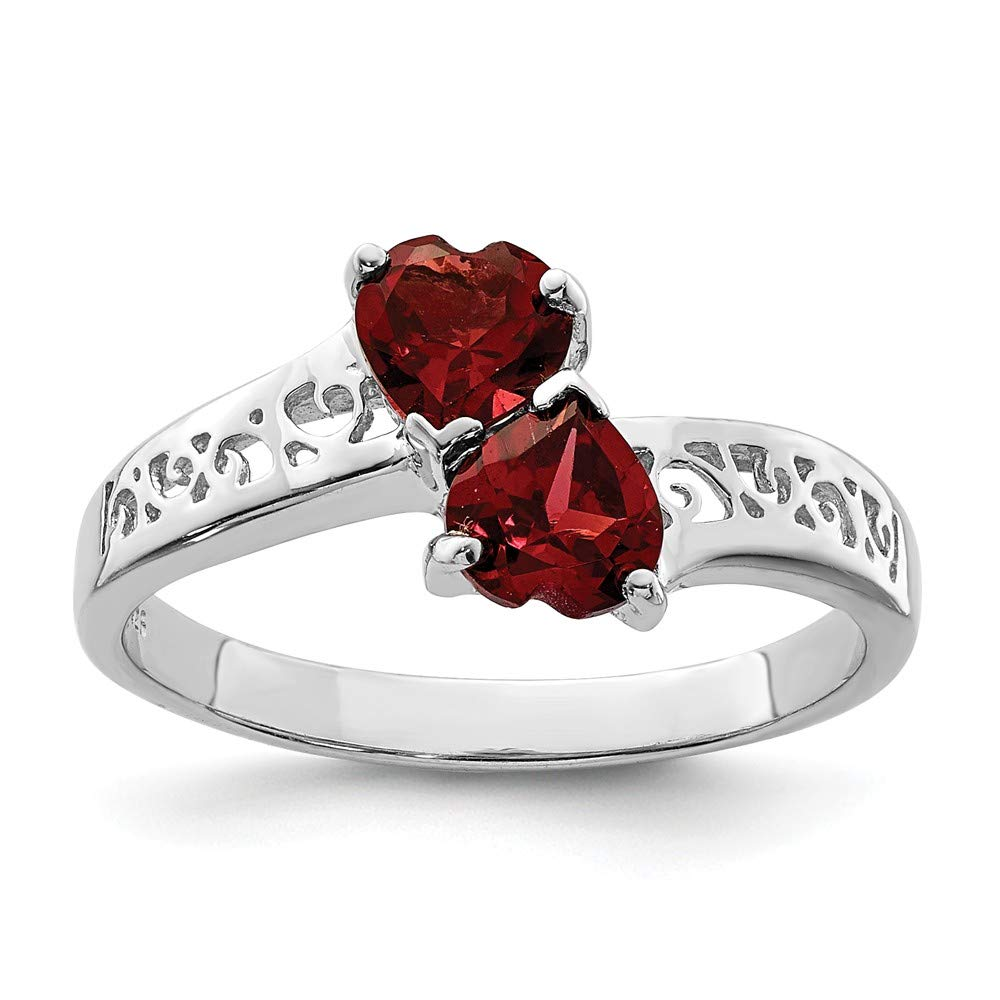 925 Sterling Silver Red Garnet Heart Band Ring S/love Gemstone Fine Jewelry For Women Gift Set