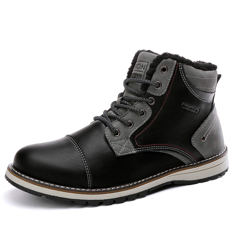 BETOOSEN Work Boots for Men, Outdoor Waterproof Safety Construction Working Shoes, Fur-Lined Keep Warm Ankle Snow Boots in Winter