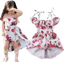 EGELEXY Kids Girls Floral Off-Shoulder Straps Dress Summer Ruffled Romper Jumpsuit Party Dress